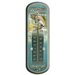 "17"" Tin Thermometer Ripplin Waters Lodge"