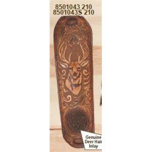Brown Leather Trophy Gunsling with Embossed Deer Head and De