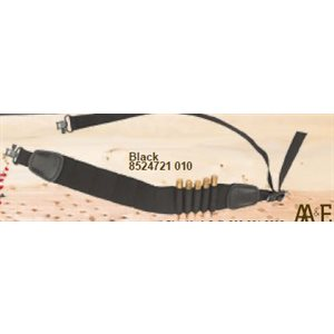 Black Elastic Lite Weight Rifle Shell Sling with Leather Tab