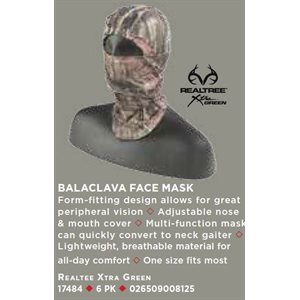 BALACLAVA FACE MASK, REALTREE XTRA GREEN