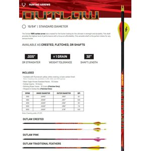 OUTLAW FLETCHED ARROWS- .005'' 6 PACK 350