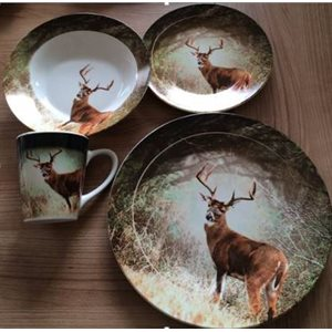 16 PCS DINNERWARE SET ROUND SHAPE DEER