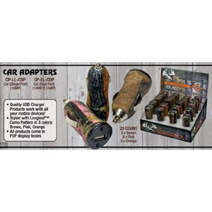 Longleaf camo car charger adapter, dual port,