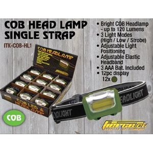 COB Headlamp with single strap, 120 Lumens, 3 Modes, Black / O