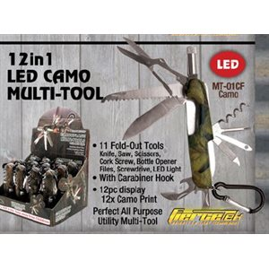 12-1 Multi-Tool with LED light, Camo, 12 ct. dsp