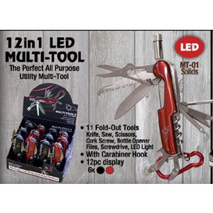12-1 Multi-Tool with LED light, 6 blk, 6 red per 12 ct. dsp