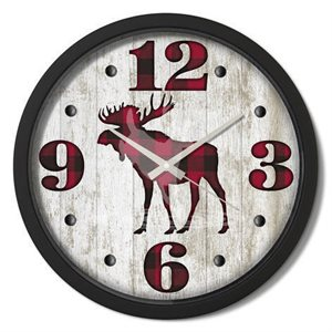 "15"" dia. Contemporary Clocks MOOSE PLAID"