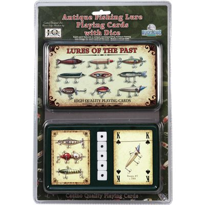 ANTIQUE LURE CARDS AND DICE IN GIFT TIN