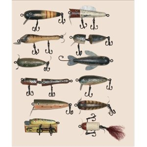 12 PC ANTIQUE LURE ASSORTED ORNAMENTS