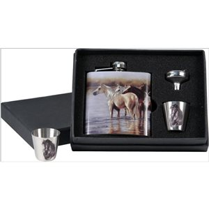 7 OZ HORSE FLASK WITH SHOT GLASSES