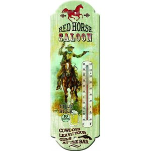 RED HORSE SALOON TIN THERMOMETER